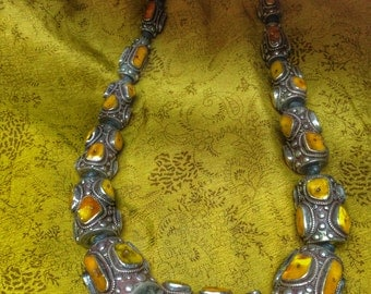 Tibetan jewelry Amber and Silver handmade Necklace
