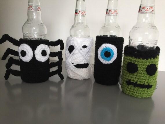 Halloween crochet bottle/can covers/cosies, mummy, monster, bat, eyeballs. downloadable pattern