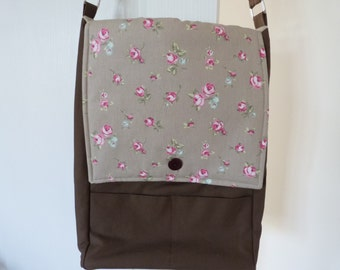 Beige Floral A3 Shoulder Bag