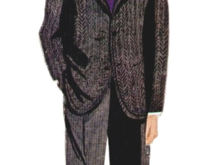 Classic men's suit pattern, 50 large size to print in A4 sheets