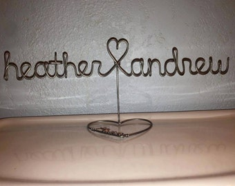 Steel Heart Stand - Anniversary Gift -  Personalized Wedding Gift - Custom Wedding Gift - Family Home Decor - Wire Heart Stand - Wire Name