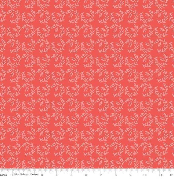 Riley Blake Apricot Fern Coral Fabric
