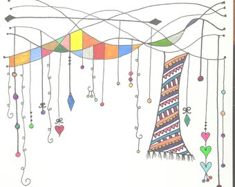 Zentangle Hand Drawn Greeting Card