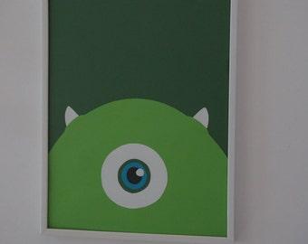 Disney Monsters Mike Wazowski Wall Hanging Decor, Digital Print, Handcrafted Cardstock