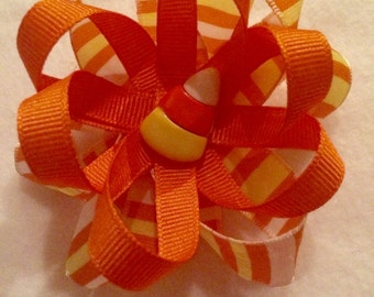 Candy Corn hair accessory, 1 mini hair clip or elastic headband, Halloween candy corn flower hair bow