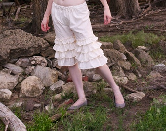 Shepherdess Bloomers - Cream 100% Cotton Muslin - Prairie Ruffled Pants - Adult / Women's Custom-Made - Moth & Rust Handmade in Kansas