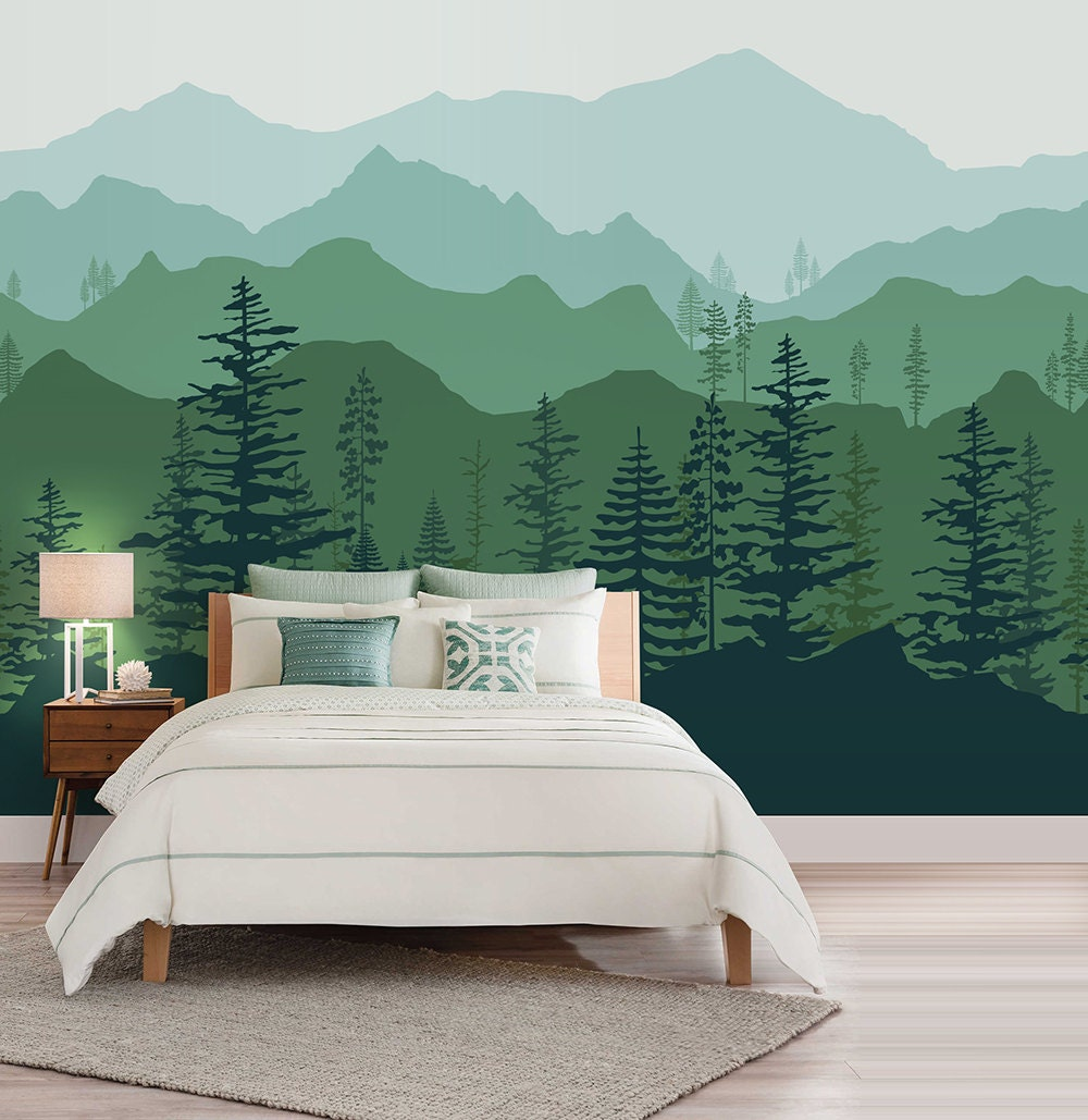 Peel and stick ombre mountain pine trees forest scenery nature for Scenery wallpaper for bedroom