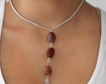 Filigree Silver Neclace 925, Brown Natural Stones, Peruvian Hand Made