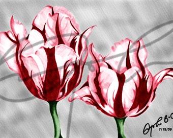 Red Tulips - Printable Download, Art Print, Digital Download, Flower painting, Red tulip painting