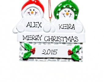 Personalized Ornament-Mantle Snowmen Couple Ornament-Free Gift Bag Included