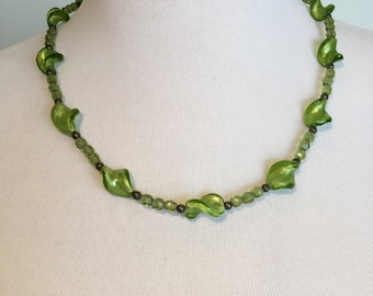 Bright Green Glass Bead Necklace