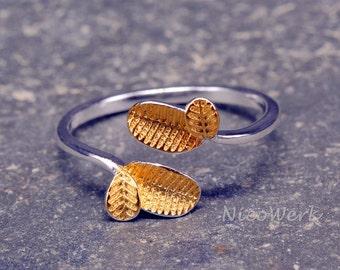Silver leaf ring Silver 925 adjustable ladies jewelry ladies rings SRI149