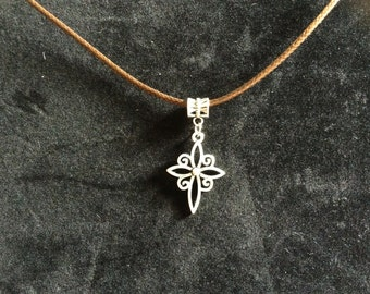 Stunning antique silver cross on waxed leather cord