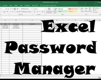 Secure Excel Password Manager, Password Protected spreadsheet template.
