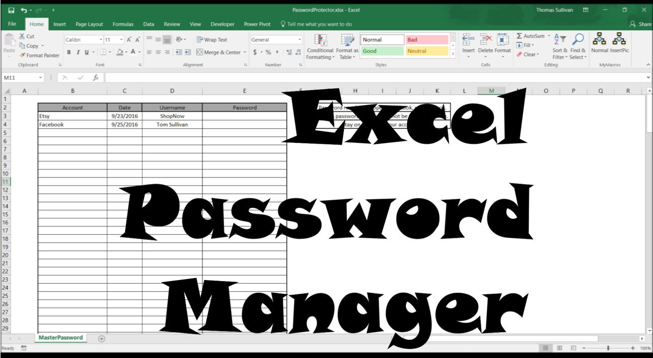 Secure Excel Password Manager, Password Protected spreadsheet ...
