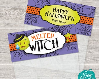 Printable and personalized Halloween tags | treat bag toppers | Melted Witch