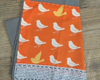 Birds on Orange Print Fabric with Border of Words