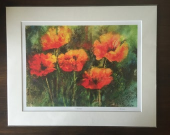 """Giclee print of my original watercolour painting """"Poppies""""/wall art print/Gift for her/Christmas gift/floral art print/"""
