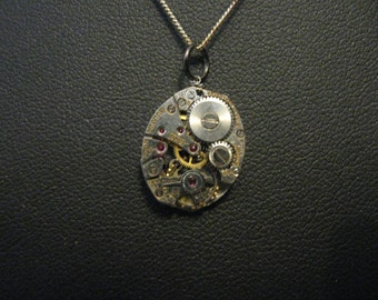 Silver Watch Movement Necklace