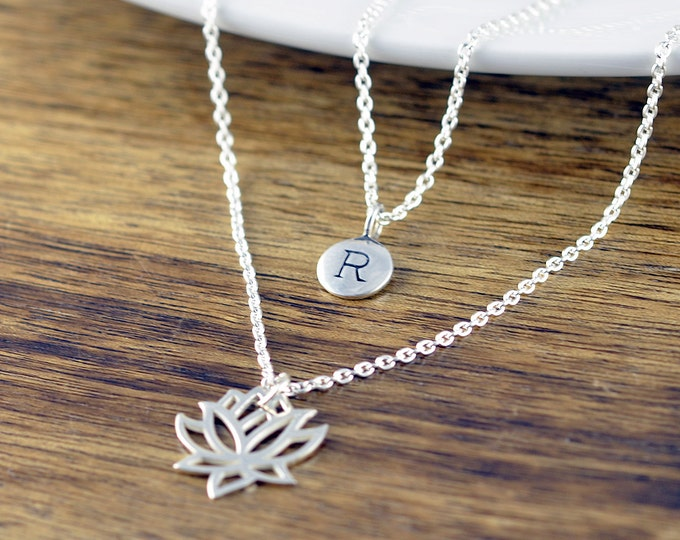 Lotus Necklace - Initial Necklace - Personalized Initial Necklace - Personalized Necklace - Yoga Jewelry - Lotus Flower Necklace