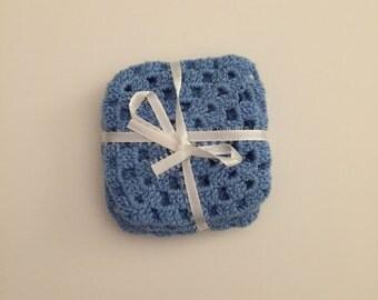 Handmade small square crochet coasters