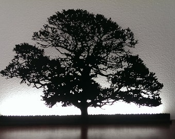 Oak Tree cut out with back lighting