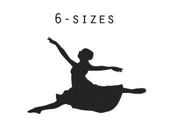 6 sizes - Ballet Embroidery Design, Bellerina Embroidery Design, Dance Embroidery, Silhouette Embroidery, Instant Download, Ballet Pattern