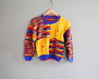 Hand Knitted Retro Kid Sweater Size 5 - 6 Years Old Vintage #k013a