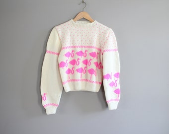 Hand Knitted Flamingo Cream Neon Pink Sweater Size 10 - 12 Years Old #k014a