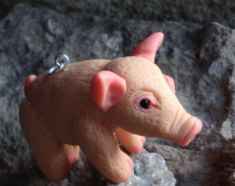 polymer clay pig.piggy. pendant .charms.cute animal.Buy Directly From Artist.fair trade.