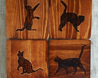 Cute and Modern Woodburned Cat Coaster Set