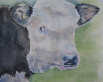 Black and white cow watercolour Original