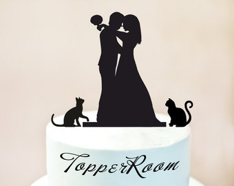 Cake topper with cats,silhouette cake topper with two cats,cats cake topper,wedding silhouette cake topper with cats,cake topper cats (1042)