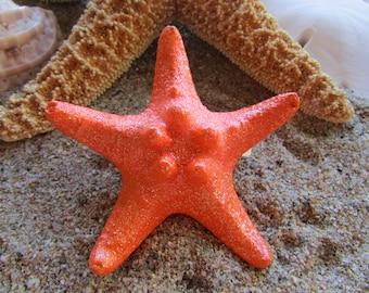 Orange Glittered Knobby Starfish Hair Barrette- Mermaid Hair