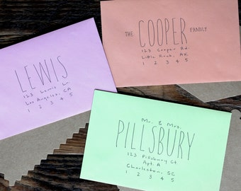 "Custom Handwritten Envelopes, Handwritten Wedding Invitation Addresses in ""Slender"" Font"