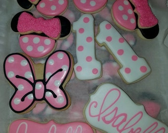 One Dozen Minnie Mouse Themed Cookies