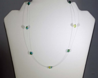 Blue/Green Crystal  Illusion Necklace (Single Strand)