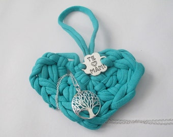 Silver Pendant tree of life and handmade blue heart