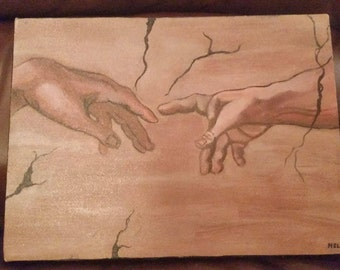 michaelangelo, the creation of Adam detail painting