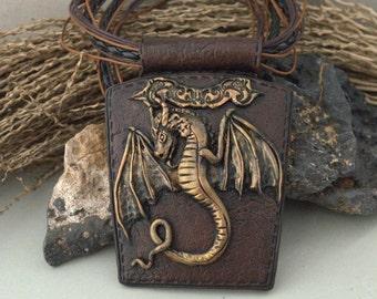 Jewelry Jewelry pendant Polymer clay jewelry Dragon pendant Brown pendant Dragon jewelry