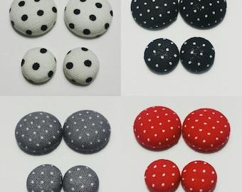 Polka Dots Fabric Cover Button Earrings; Polka Dot Jewelry, Polka Dot Earrings, Gifts for Her, Black and White Polka Dot