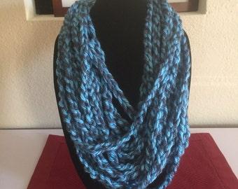 Handmade Blue Knitted Multi Strand Scarf