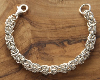 """Silver bracelet 925 ‰ chain link byzantine-hand-crafted-""""Free shipping"""""""