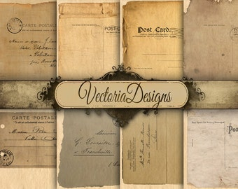 Postcard Papers 12 x 12 inch digital paper pack instant download printable digital collage sheet VD0457