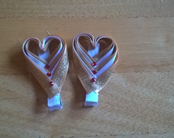 Gold and White Heart Clip