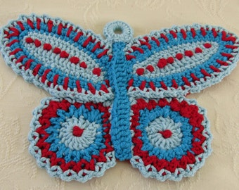Crocheted Blue/Red Butterfly Pot Holder Vintage Pattern