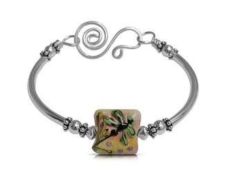 Nature Jewelry Dragonfly Jewelry, Tan Jewelry Bracelet, Summer Bracelet Boho Bracelet, New Girlfriend Gift Bracelet, Free Shipping