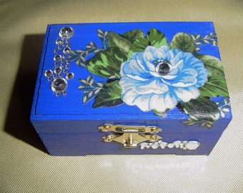 Wedding ring box, jewelry box, bridesmaid gift, wood ring box,  cobalt blue paint with cotton fabric flower and leave design,  beads.