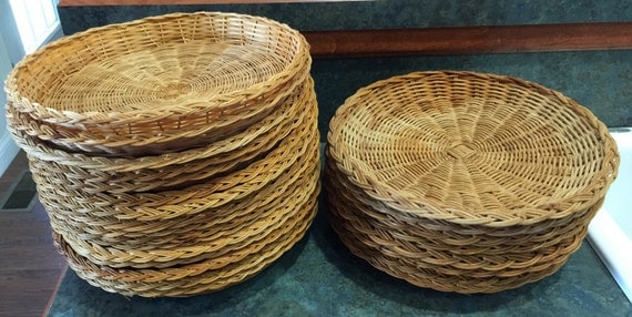 vintage rattan paper plate holders china and hong kong made. Black Bedroom Furniture Sets. Home Design Ideas