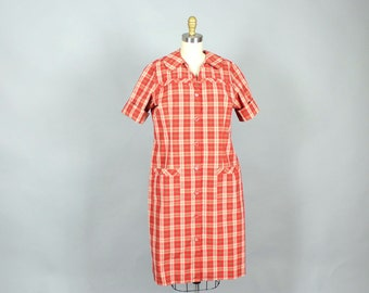 vintage plaid shirtdress . red plaid shift dress with button front . womens large xl house dress